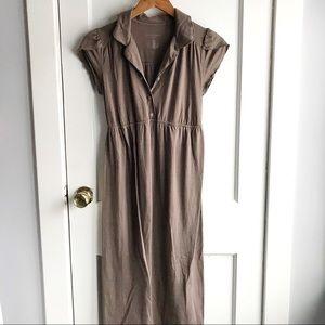 Long soft brown maternity dress